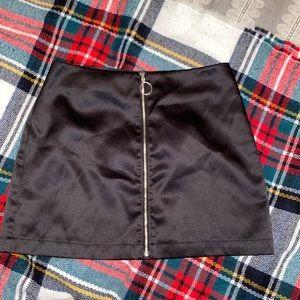 Black Zip satin skirt